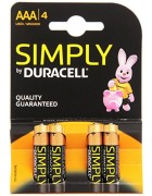 PILHA DURACELL SIMPLY 1.5V AAA LR03 MN2400 PACK 4 UNIDADES BLISTER