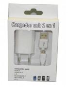 CARREGADOR SECRETARIA 2 EM 1 MICRO USB BRANCO