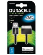 CABO DADOS DURACELL USB5011A PRETO ORIGINAL (30 PINOS USB) (FAST CHARGING)