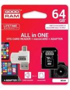 CARTÃO GOODRAM MICRO SD 64GB CLASS 10 C/ ADAPTADOR SD E LEITOR CARTÕES OTG BLISTER