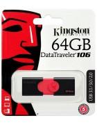 PEN DRIVE KINGSTON 64GB DATATRAVELER 106 USB 3.1 PRETA ORIGINAL BLISTER