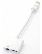ADAPTADOR 2IN1 AUDIO JACK 3.5MM + CARGA LIGHTNING BRANCO BLISTER (AD109)