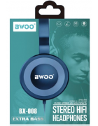AURICULAR/HEADPHONE BWOO COM MICROFONE BX-008 AZUL ORIGINAL BLISTER