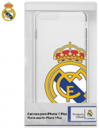 BOLSA SILICONE JELLY REAL MADRID IPHONE 7 PLUS, IPHONE 8 PLUS BRANCA/TRANSPARENTE ORIGINAL BLISTER
