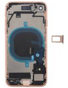 CAPA TRASEIRA E INTERMÉDIA/CHASSI IPHONE 8 ROSA DOURADA COM COMPONENTES ORIGINAL